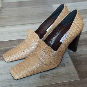 Sacha Alligator Textured Leather Heeled Loafers